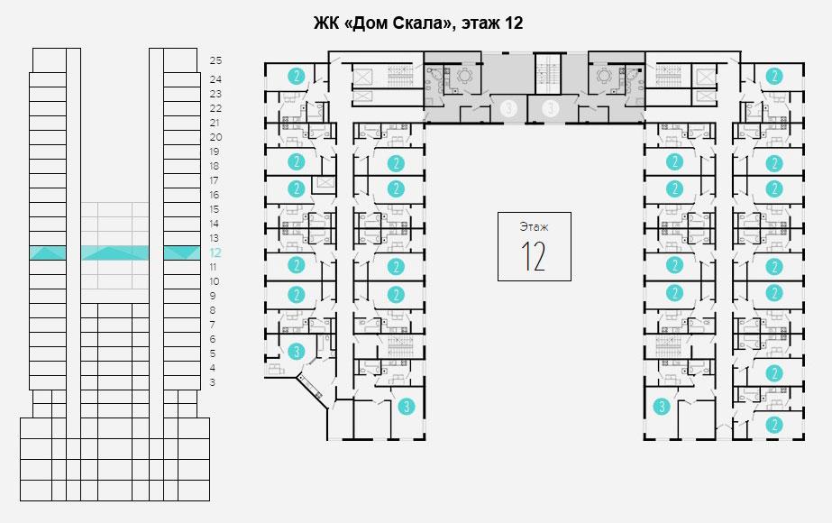 план этажа 12 - 16
