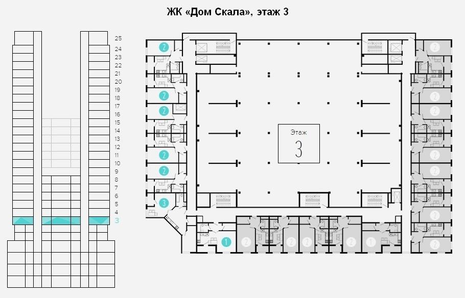 план этажа 3 - 4